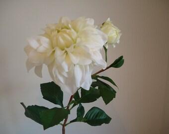 Huge Cream Dahlia Stem 26 Inch Floral Supply DIY Ivory Flower Elegant Dahlia #320A