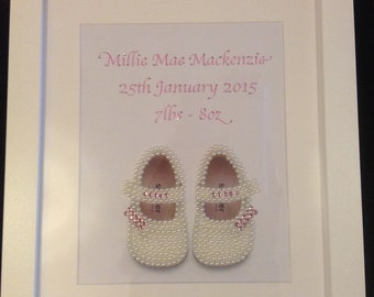 Baby Girl Pearl and Diamante Personalised Picture