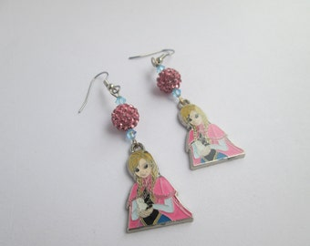 Frozen  earrings on Surgical Steel Wires /Anna / Item E110