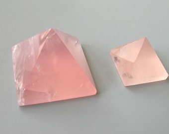 Pink Crystal Pyramid Healing Crystal,Rose Crystal Natural Mineral Quartz Point Triangle Size Optional 1309