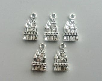 Castle Charms Antique Silver Tone 2 Side Tower Pendant for DIY Jewelry Accessories Bracelet Necklace Fashion Metal Beads 21*11mm 565