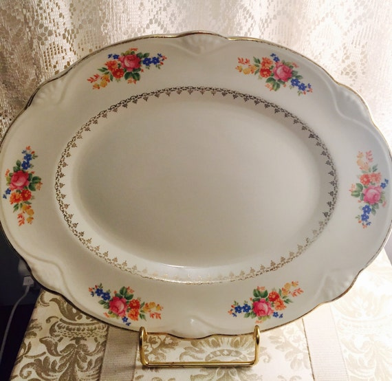 Homer Laughlin Marigold Pattern Serving Platter 1940 S