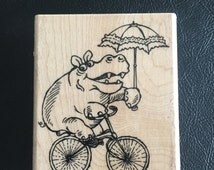 Rubber Stamp on Wood Block – Hippo Cycle, Hippo on Bicycle with Umbrella, Rubber Stamp, Scrapbooking, Card Making, Stampendous!