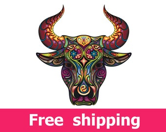 abstract bull wall sticker, colorful bull wall decal decor, beef wall sticker removable vinyl animal nature cartoon taurus wall art [FL055]
