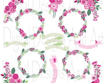 Flower clipart, Floral clipart,Pink flowers digital clip art, Floral clip art, Flower ribbons, Invitation Label Tags, Ocher flower, Brown