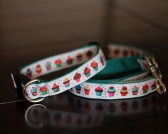 Cute Colorful Cupcake Dog Collar