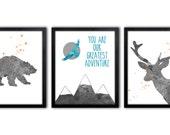 Teal And Orange Nursery, Kids Wall Art, Playroom Animal Art, Nursery Animal Decor