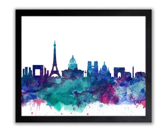 Paris Art - Paris Skyline - Watercolor Paris Cityscape Wall Art - Painting of Paris City - Abstract Paris City Painting - PARIS 1