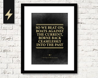 The Great Gatsby poster, inspirational quote print. Inspirational home decor. Great Gatsby poster. F Scott Fitzgerald quote art download