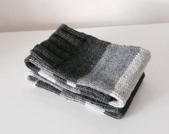 Wool Leg Warmers, Winter Legwear, Grey Wool Fashion Socks, Knitted Leg Warmers, Women's Accessories, Boot Toppers.