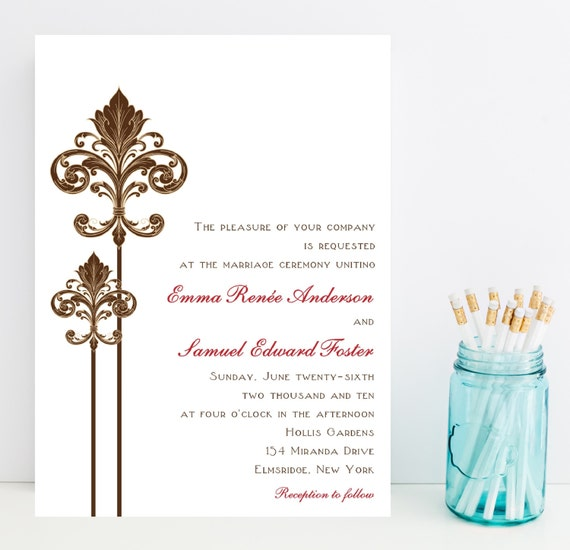 Printable Wedding Invitation - Fleur de Lis Wedding Invitation