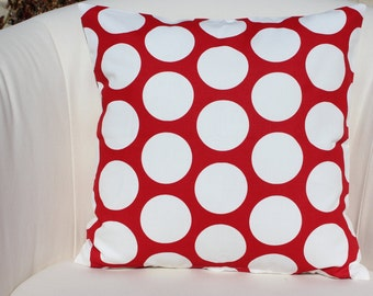 16 x 16 Inch Red and White Dandie Dot Pillow Cover-Decorator Pillow Cover-Throw Pillow