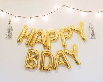 happy bday balloons gold mylar foil letter balloon banner kit