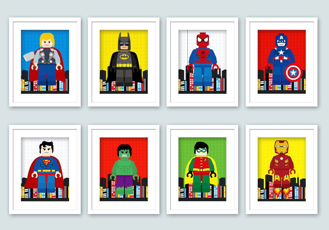 lego superhero wall art superhero posters bedroom by enipixels. Black Bedroom Furniture Sets. Home Design Ideas