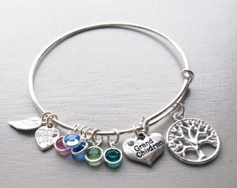 Grandchildren Personalized Hand Stamped Adjustable Wire Bangle Bracelet