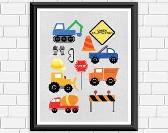8x10 Construction Printable Nursery Art Print Trucks Equipment Bright Colorful Wall Decor, 8x10 Instant Download Digital File