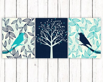 Blue Turquoise Printable Art Set Bird Tree Floral Art Print Navy Blue  Wall Art 8 x 10 Instant Download Digital File
