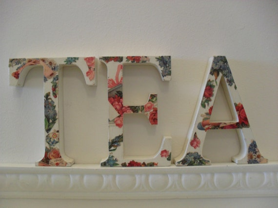floral letters decoupage letters eat or tea freestanding decorative letters victorianstyle floral design white letters dining
