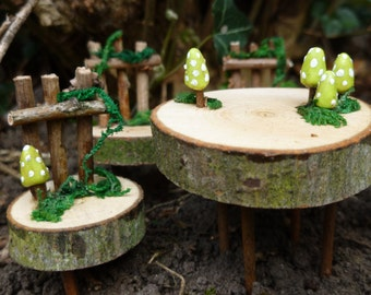Handcrafted fairy garden dining table and chairs furniture