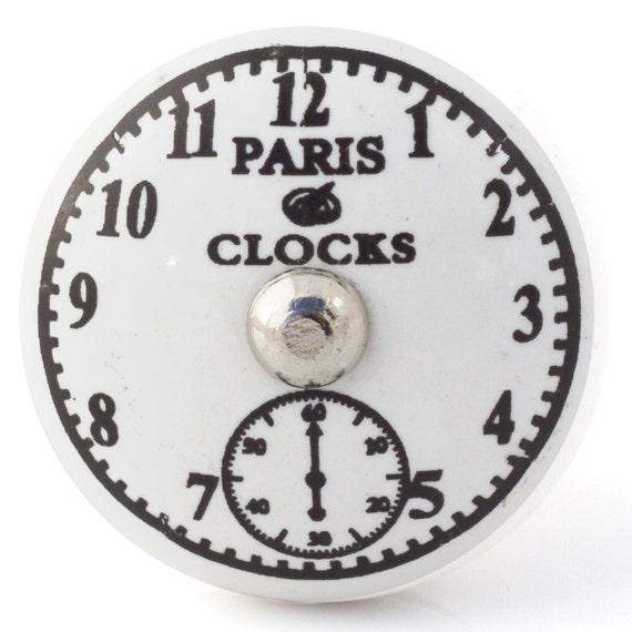 vintage en c ramique paris horloge bouton bouton de porte. Black Bedroom Furniture Sets. Home Design Ideas