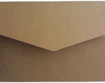 5x7 Rustic Copper Tone Brazilian Wood Grain Wedding Invitation Pocket