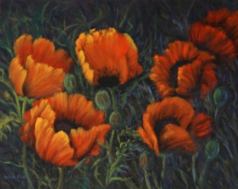 Red Poppies ART, Open Edition  Giclee Print of Original Oil Painting Red Poppy Flowers