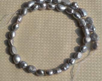gray baroque pearls wholesale,corn baroque pearl strand,gray freshwater pearls,7-8 mm gray loose pearl beads - one full strand gray pearl