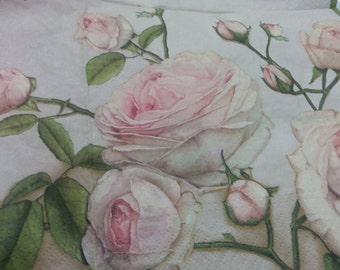 "Napkins. Decoupage. Set of 3 piece - Beautiful decoupage napkins - ""Vintage Love Rose "" 3 paper napkins"