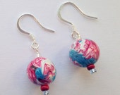 Fish Hook Earrings from Polymer Clay on Silver Plated Fish Hooks - Blue, Red, and White Round Bead