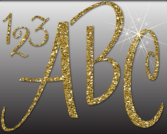 GLITTER GOLD ALPHABET Digital ClipArt: Letters, Numbers, Symbols ...