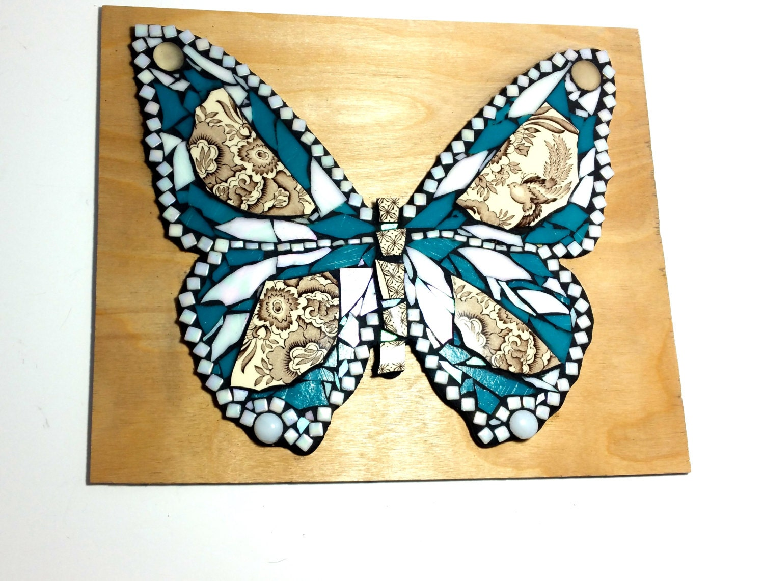 Butterfly Mosaic Art China And Stained Glass Mixed Media