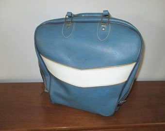 Vintage Blue and Cream Bowling Bag