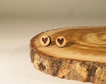 Heart, Stud Earrings, Bamboo