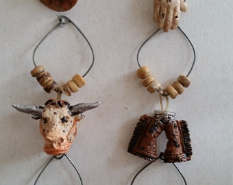 Cowboy Wine Glass Charms - Set of 6