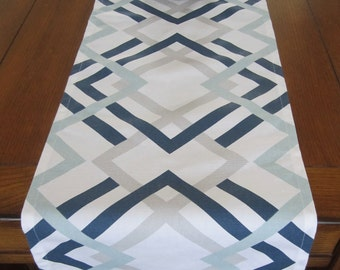 Navy/ Gray/ Aqua Table Runner, Winter Table Runner, Navy Wedding Table Runner, Navy and Gray Table Runner, Geometric Runner, Navy Home Decor