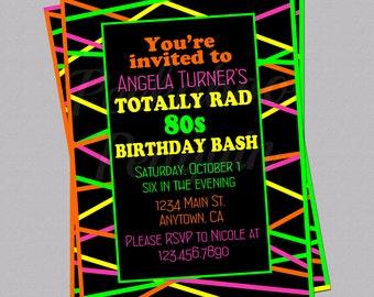 80s Birthday Invitations, 80s Invitations, Neon Invites, Adult Birthday Invitations, Colorful Invites, 80s Stripes, Digital, Printable