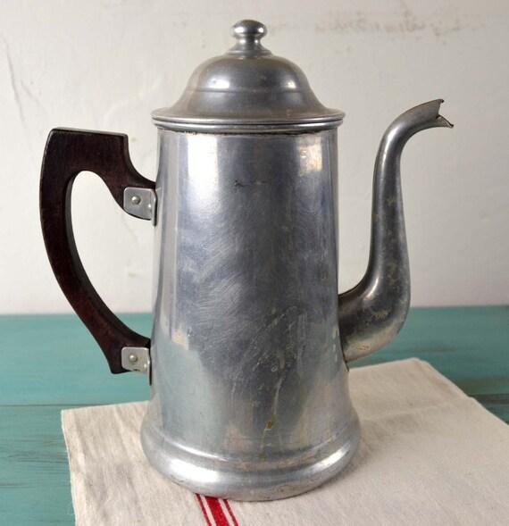 Elegant Vintage French Aluminum Coffee Pot Lid Cafetiere