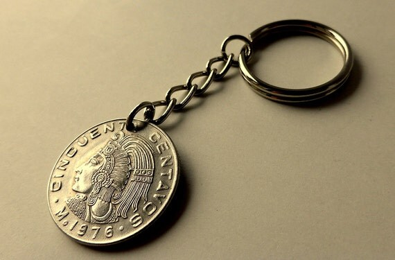 Jew Detector: Mexican Coin Keychain Mexican Keychain Aztec Keychain Gifts