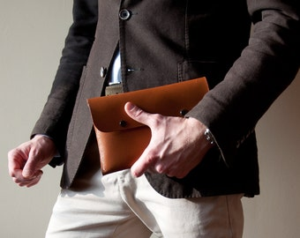 Men's Leather Clutch Handbag in Beech Nut,Organizer Handbag,Briefcase Wallet,Leather Clutch,Wrist Bag,Men Gift