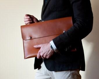Personalized Men's Leather Folio,Document Case in Beech Nut,Portfolio,Document CaseA4,Envelope Document Case,Leather Folio,Men Gift