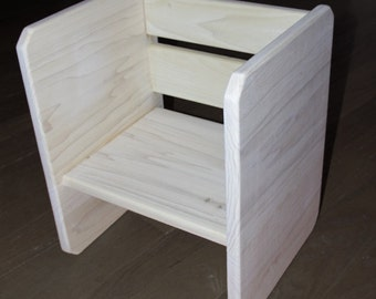 "Toddler Kids Solid Wood ""Cube"" Chair"
