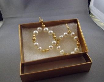 14kt Gold Bead & Pearl Dangle Earrings, Pierced