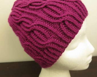 Beautiful plum cable knit hat