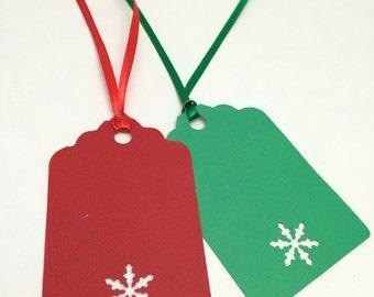 Holiday Gift Tag, Christmas Gift Tag, Hang Tag: 12 Holiday/ Christmas Snowflake Gift Tags