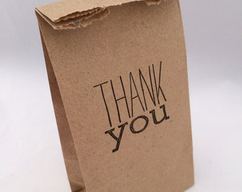 Thank You Bags: 10+ Kraft Paper Thank You Favor Bags, Party Supplies