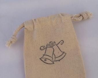 Wedding Bells Favor Bag: 25+ Wedding Bells Drawstring Muslin Bags, Wedding Favor