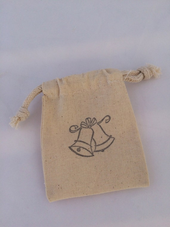 wedding bells favor bag 25 wedding bells drawstring muslin bags