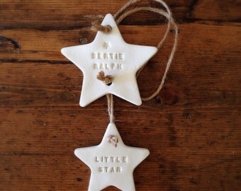 Two star clay decoration personalised ~ nursery decoration ~ nursery decor ~ new baby gift or Mother's Day gift ~ clay garland