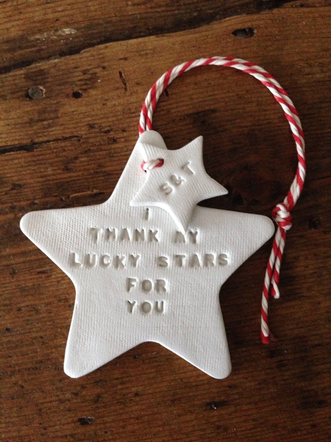 I thank my lucky stars white clay star personalised tag for Christmas ornaments to make for gifts