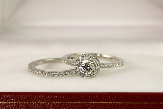 Wedding Ring set Round Halo Engagement Ring CZ by PescaraJewelry